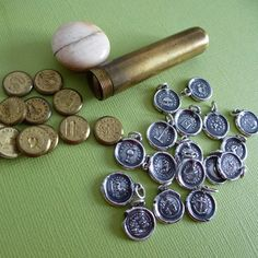 French lozenge wax seal Etui with wax seal pendants made from these seals. {My own collection}