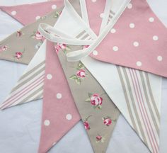 Fabric Bunting, Pennant Flag Garland, Country Cottage Style, Taupe Rosebuds, Pink Dots and Off White Ticking Stripes.  9 Double sided flags.