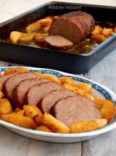Food for thought: Ρολό κιμά με μπέικον στο φούρνο Sausage, Bacon, Garlic, Pork, Food And Drink, Beef, Recipes, Baked Potatoes, Cyprus