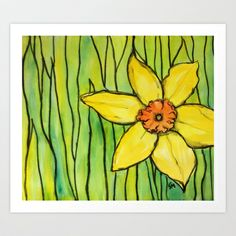 Daffodil Art Print by Fallon Mento - $20.80 Water color and charcoal celebrating March with a daffodil