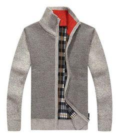 8b15afe0d4e6 Speed Hiker Cardigan Sweaters Men Thicken Knitwear cheap Stand Collar Wool  Velvet Inside 6 Colors Warm