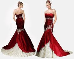 Red & White wedding gown