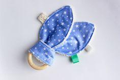Star baby teething toy, Bunny ear teether, Wood teething ring, Organic baby teether, Teether toy, Baby teething toy, Baby boy gift by TildaArt on Etsy