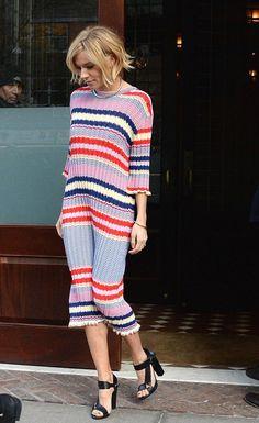Sienna Miller's jimmy Fallon Show Céline Resort 2015 Striped Red, White, Blue Sweater Dress 8