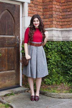 Suedette Midis and Vintage Heels | A Walk in the Park