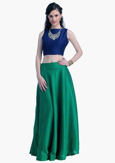 Emerald Silk Maxi Skirt