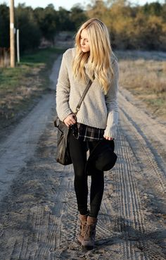 this is cute for a rough, sort of rugged look with the plaid under the sweater and the boots, and of course the hat!
