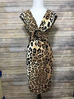 Cache Size 2 Leopard Animal Print Open Back Sexy V-Neck Padded Bust Jersey Dress