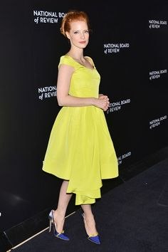 Jessica Chastain wore a dress and heels both by Oscar de la Renta.