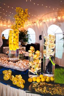 Yellow and Blue Wedding under tent next to beach on Jekyll Island at the Beachview Club.