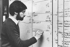 ATC producer Maury Schlessinger updates the show's rundown board in 1981.