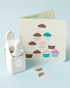 Cupcake Card - Martha Stewart Crafts I want this punch so cute!