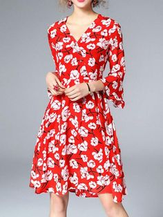 BelleGal Silk Print A Line Knee Length Dresses