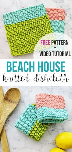 Beach House Knitted Dishcloth Pattern – Free knitting pattern and video tutorial by Just Be Crafty Knitting PatternsKnitting HumorCrochet ProjectsCrochet Stitches Knitted Dishcloth Patterns Free, Beginner Knitting Patterns, Knitted Washcloths, Easy Knitting, Knitting Projects, Knitting Needles, Cowl Patterns, Crochet Patterns, Knitting Toys