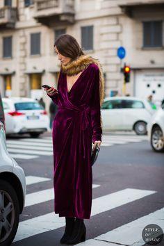 Milan Fashion Week FW 2016 #StreetStyle: Giorgia Tordini in velvet maxi dress