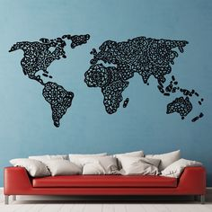 World map outlines wall decal continents decal large world mandala world map gumiabroncs Gallery