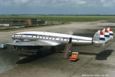 """Lockheed Constellation PH-LDE (cn """"Utrecht"""" in KLM service From the good old days, when boarding passengers walked across the taxiways. This beauty is awaiting her passengers in 1957 with destination Warsaw Airplane Photography, Flying Dutchman, Passenger Aircraft, Vintage Airplanes, Commercial Aircraft, Civil Aviation, Air France, Aircraft Pictures, Constellations"""