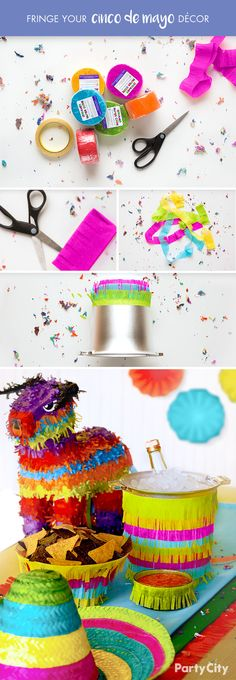 Throwing a Cinco de Mayo party? Bring your fiesta to life with festive DIY décor! Start by cutting sections of our streamers and folding accordion style. Use scissors to cut fringe on one side. Wrap double-sided tape around our silver plastic ice bucket and layer with streamers until covered. Repeat steps for bowls and table runner. Finally, decorate your table with piñatas, sombreros and our multicolor tissue paper confetti. Turn up the music and get ready for a vibrant celebration!