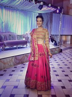 Gauahar Khan in a pink and golden lehenga by Surendri Indian Wedding Planner, Indian Wedding Outfits, Wedding Dress Styles, Indian Outfits, Indian Weddings, Golden Lehenga, Gauhar Khan, Desi Clothes, Indian Clothes