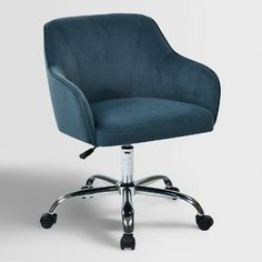 An elegant take on office seating, our comfortable desk chair features a thick padded seat and back with built-in lumbar support and soft velvet upholstery.
