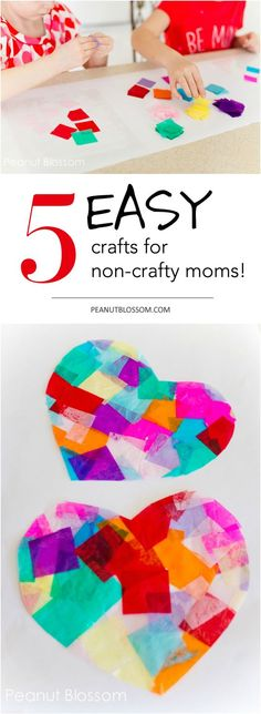 Want to do a craft with the kids for a snow day or holiday from school but worry you're not crafty enough? Check out these adorable and EASY crafts for non-crafty moms that are low mess, easy to set up, and simple for you and the kids to do together.