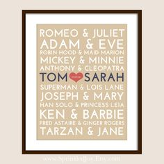 sprinkled joy: Famous Couples Subway Print - Fully Customizable - Unique Wedding, Valentines or Anniversary (Digital Copy included for Free) Dream Wedding, Wedding Day, Diy Wedding, Wedding Reception, Wedding Photos, Famous Couples, Barbie And Ken, Unique Weddings, Got Married