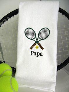 Tennis Gift Personalized Tennis Towel Crossed