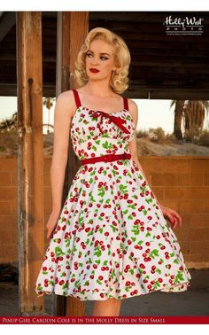 Molly Dress in White Cherry