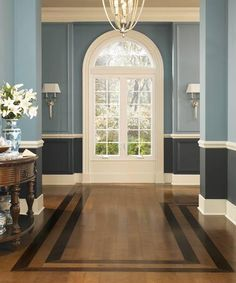 Wood chair rail dining room paint colors ideas for 2019 Dining Room Paint Colors, Dining Room Walls, Wall Colors, Living Room, Color Walls, Painted Wood Floors, Hardwood Floors, Wood Flooring, Two Tone Walls