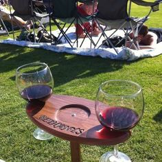 Definitely a DIY project: Portable Outdoor Wine Table And Glass Holder - Personalized - Wine Glasses Included