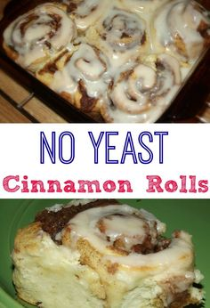 and Easy Homemade Cinnamon Rolls with No Yeast! Easy No Yeast Cinnamon Rolls that don't need to rise! Quick and Delicious! TRY today!Easy No Yeast Cinnamon Rolls that don't need to rise! Quick and Delicious! TRY today! Cinnamon Recipes, Cinnamon Bread, Baking Recipes, Biscuit Cinnamon Rolls, Cinnamon Roll Icing, Pizza Dough Cinnamon Rolls, Cinnamon Bun Cake, Cinnamon Desserts, Quick Recipes