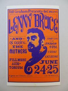 Lenny Bruce Handbill Flyer, Bill Graham Presents by MerlesVintage