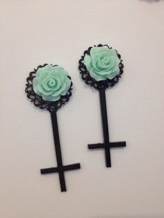 Pick size Teal  Rose Inverted cross rockabilly Psychobilly Pinup Scene Custom Plugs pastel goth via Etsy