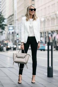 Blonde Woman Wearing Stitch Fix Outfit Joie White Blazer J Brand Black Skinny Je… Blonde Woman Outfit Joie White Blazer J Brand Black Skinny Jeans Nude Pumps Celine Belt Handbag Fashion Jackson Classy Work Outfits, Work Casual, Stylish Outfits, Black Jeans Outfit Work, White Jacket Outfit, White Blazer Outfits, Classy Casual, Classy Outfits For Women, Classy Clothes
