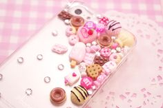 This gorgeous handmade kawaii style decoden phone case is smothered with cute and colourful miniature sweets and cakes and sparkling clear rhinestones. A really unique case which will add a touch of kawaii glamour to your phone and keep it protected from Craft Supplies Uk, Scrapbook Supplies, Iphone 5 Case, Phone Cases, Kitsch, Candy Crystals, Kawaii Crafts, Make Your Own Jewelry, Decoden