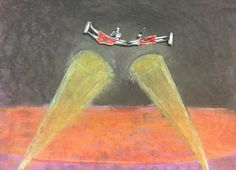 They fly through the air with the greatest of ease! Check out these circus people: oil pastel background with figures collaged
