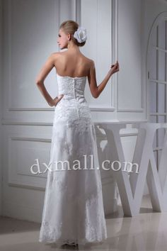 A-line Wedding Dresses Sweetheart Floor Length Satin Lace Ivory 010010103455