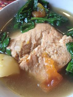 Pesang Salmon :Filipino Fish Stew in Ginger Broth with Tomatoes Spinach Asian In America Filipino Food, Filipino Culture, Filipino Dishes, Pinoy Food, Filipino Recipes, Asian Recipes, Healthy Recipes, Ethnic Recipes, Scd Recipes