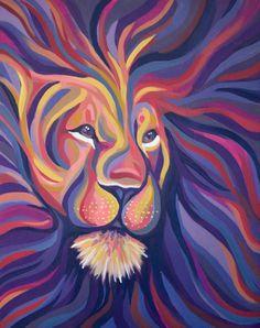 Purple Lion Painting // 16 x 20 // Original Acrylic by ArtandBears