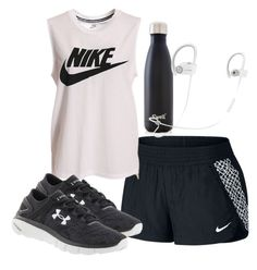 """""""Working out with my Nike"""" by melw44 ❤ liked on Polyvore featuring NIKE, Under Armour, S'well and Beats by Dr. Dre"""