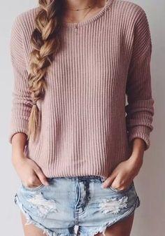 Pink Plain Fashion Round Neck Pullover Sweater