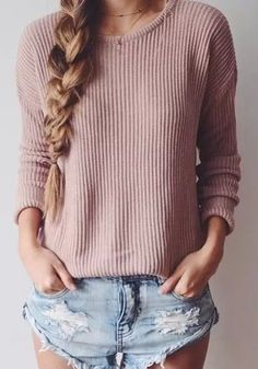 Pink Plain Fashion Round Neck Pullover Sweater
