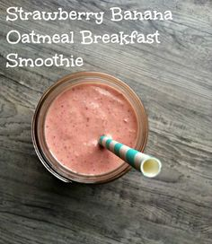 Strawberry Banana Oatmeal Breakfast Smoothie: full of protein, Vitamin C and omega-3s // A Cedar Spoon