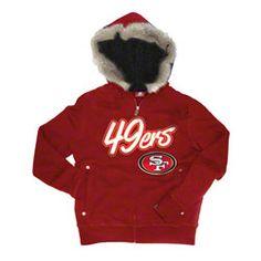 San Francisco 49ers Women's Red Brushed Fleece Faux Fur & Sherpa lined Full Zip Hoodie $79.99 http://www.fansedge.com/San-Francisco-49ers-Womens-Red-Brushed-Fleece-Faux-Fur-Sherpa-lined-Full-Zip-Hoodie-_-357228969_PD.html?social=pinterest_pfid22-41458