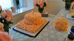 Peach rose smash cake and guest cake