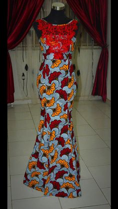 African print dinner dress floor length african by HouseOfIzzi                                                                                                                                                                                 More