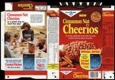 General Mills - Cinnamon Nut Cheerios - NEW - cereal box file flat - February 1977