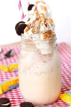 Butterfinger malted milkshake with Oreo whipped cream