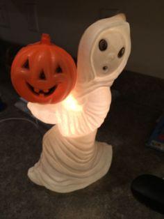 "Vintage General Foam Plastics Blow Mold Ghost Pumpkin Light 12"" Works"