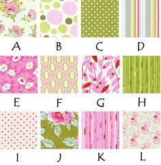 pink, green, flowers, polka dots